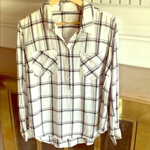A New Day pull over/button down plaid blouse